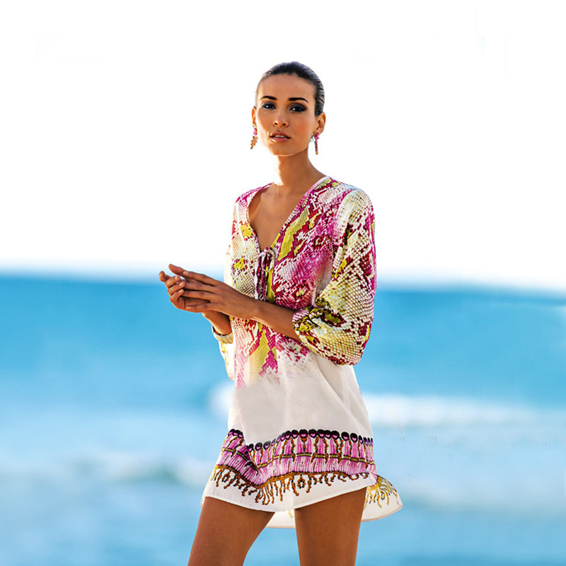 Snakeskin Chiffon Beach Cover-up, Holiday-