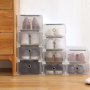 Пластиковая коробка для обуви Складная хорошо складируемая Сумка-органайзер для обуви чехол для хранения ящиков с откидной прозрачной две...