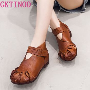 GKTINOO Fashion Autumn Flat Boots Genuine Leather Ankle Shoes Vintage Casual Shoes Brand Design Retro Handmade Women Boot