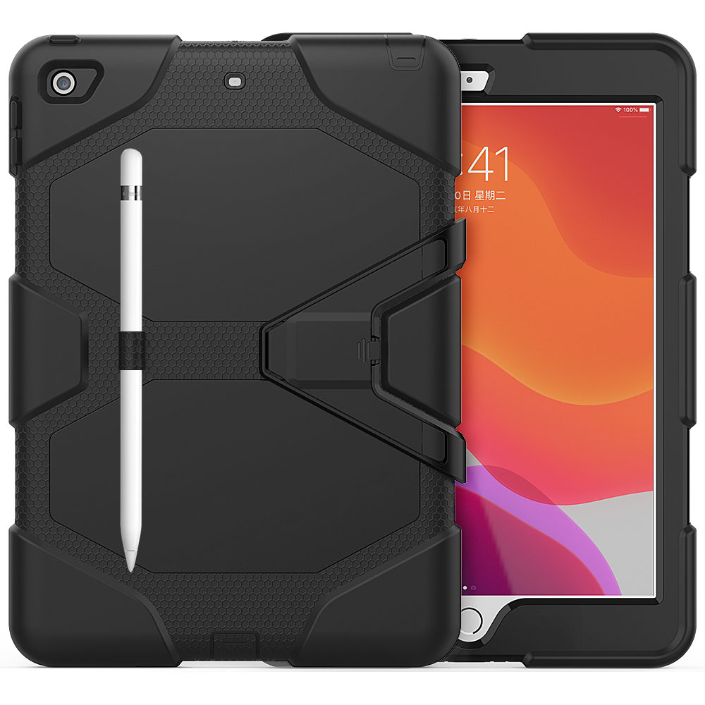 black Black For iPad 10 2 Case Heavy Duty PC Silicone Rugged Armor Kids Shockproof Kickstand Case for