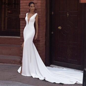 Magic Awn Simple Satin Mermaid Wedding Dresses V-Neck Front Split Open Back Boho Wedding Party Gowns Cheap Robe De Mariage mermaid magic