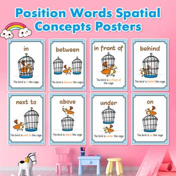 8 sztuk zestaw słowa pozycji pojęcia przestrzenne plakaty artykuły szkolne materiały edukacyjne szkolna dekoracja szkolna plakat flash cart tanie i dobre opinie HAPPY MONKEY 3 lat CN (pochodzenie) Z tworzywa sztucznego