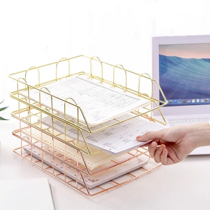 Iron Document Paper Trays  Desktop Book Shelf  1