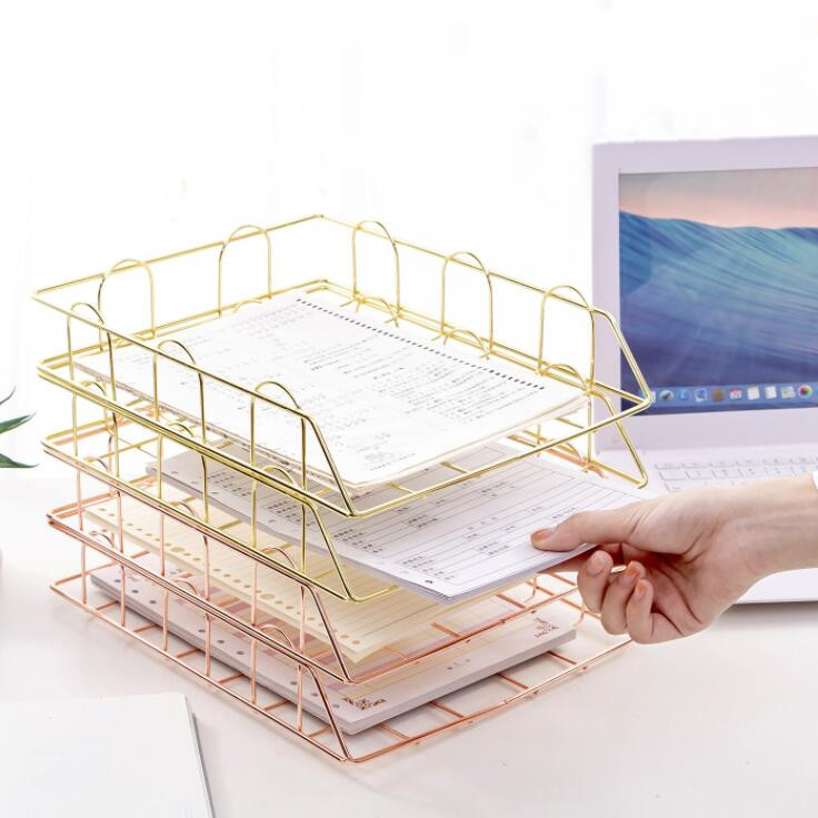 New Arrival Nordic Golden Metal Stackable Desk File Rack Iron Document Paper Trays Storage Basket Desktop Book Shelf Stationery