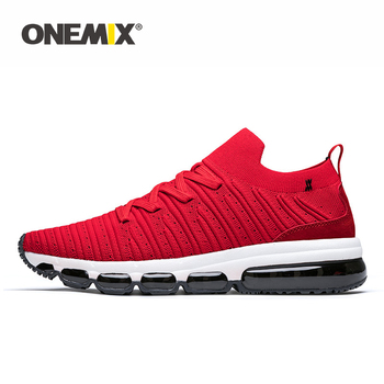 ONEMIX Sport Shoes Men Sneakers Loafer Comfortable Knitted Fabric Air Cushion Sock Shoes Casual Jogging Shoes Male Running Shoes
