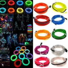 1M 2M 3M 4M 5M Flexible Neon Light Glow LED EL Wire Rope tape Cable Strip Lights Shoes Clothing Car waterproof strip YZ