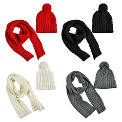 Women Winter Chunky Braided Cable Knit Hat Scarf Set Cuffed Beanie Cap Shawl 40JF