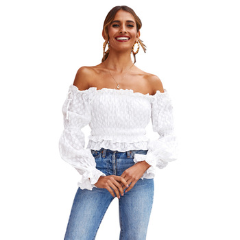 JRRY Casual Women Top Flare Sleeve Slash Neck Crop Top Fashion Solid Pattern Tops Floral Chiffon New Top цена 2017