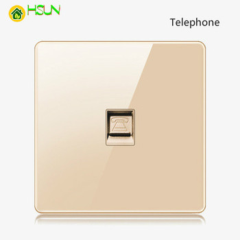 High-grade 1 2 3 4 gang 1 2 way big panel Golden switch socket Type 86 Wall 2.5D Cambered Mirror Toughened glass Computer TV 15