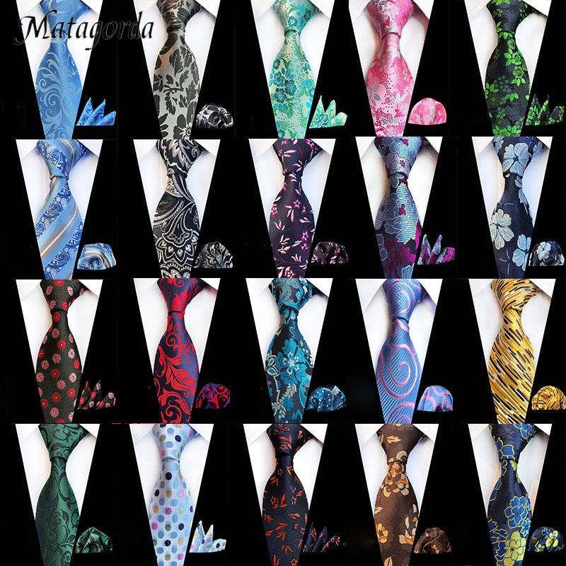 67-Colors 100% Silk Jacquard Paisley Flower Tie Handkerchief Set For Man 8cm Neckwear Wedding Evening Party Gift Cravat Hanky