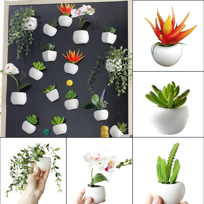 1pc Fridge Sticker Simulated Bouquet <font><b>Flower</b></font> Succulent Plant Fridge Magnet <font><b>Magnetic</b></font> <font><b>Potted</b></font> Plant For Home Wall Decoration image