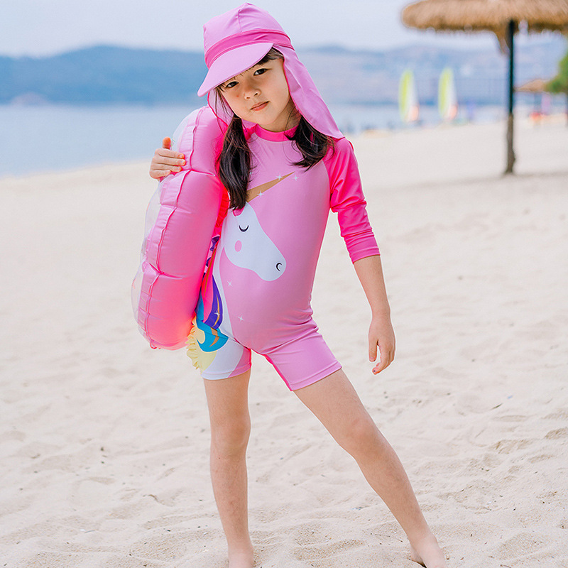 New Style GIRL'S Swimsuit Cute Children Sun-resistant Unicorn One-piece Short Sleeve Tour Bathing Suit Korean-style Swimwear A G