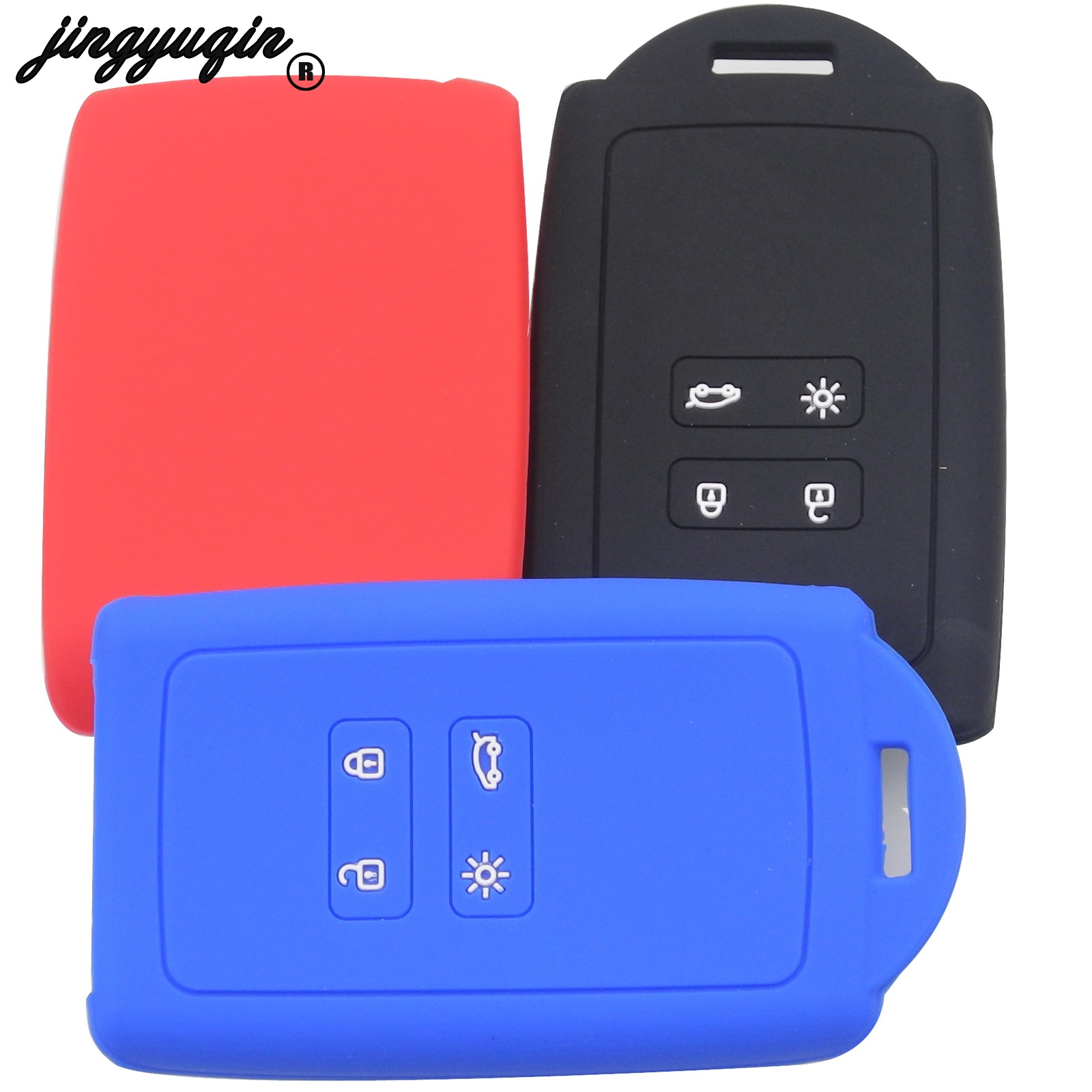 Jingyuqin Silicone Key Fob Cover Case Holder For Renault Koleos Kadjar Megan 2016-2017 Card Remote Keyless