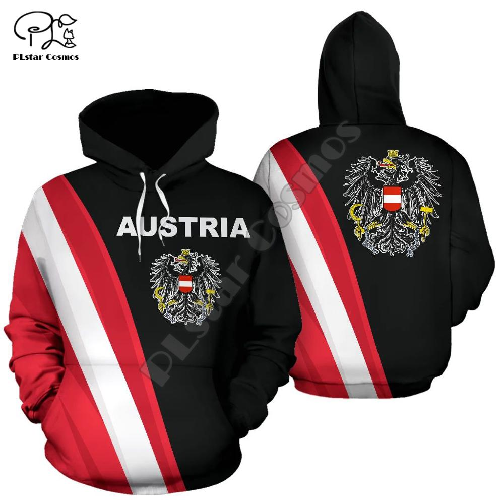 Men Austria Flag 3d Print Hoodie Long Sleeve Sweatshirts Jacket Women Unisex Pullover Tracksuit With Hood Hoody Autumn Outwear
