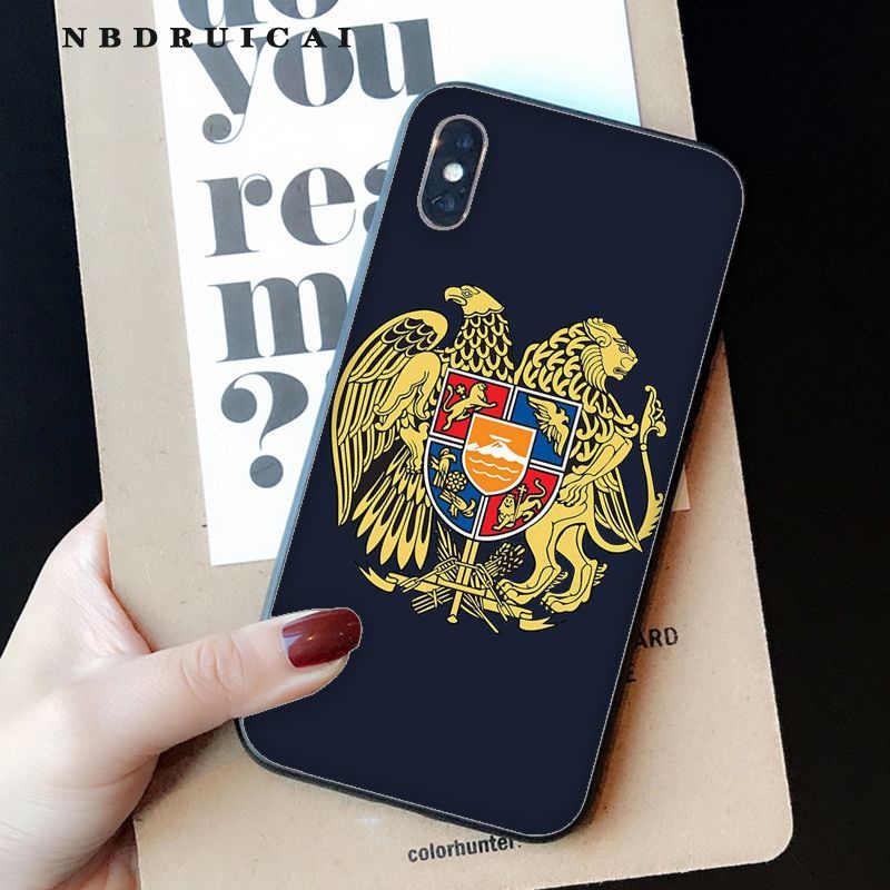 NBDRUICAI アルメニアアルバニアロシア旗エンブレム高品質電話ケース iphone 11 プロ XS 最大 8 7 6 6S プラス X 5 5S 、 SE XR ケース