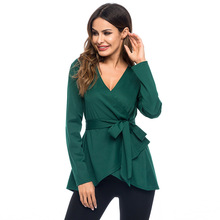 Diwish Women Blouses V-neck Solid Tops Plus Size Shirt Womens Shirts Green 2019 Fall Clothes Casual Wear Belt