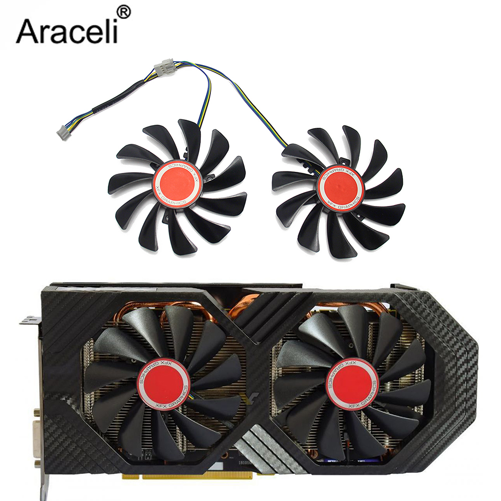 2pcs/set95MM FDC10U12S9-C CF1010U12S CF9010H12S XFX RX580 GPU Cooler Fan For HIS RX 590 580 570 Graphics Card Cooling 1