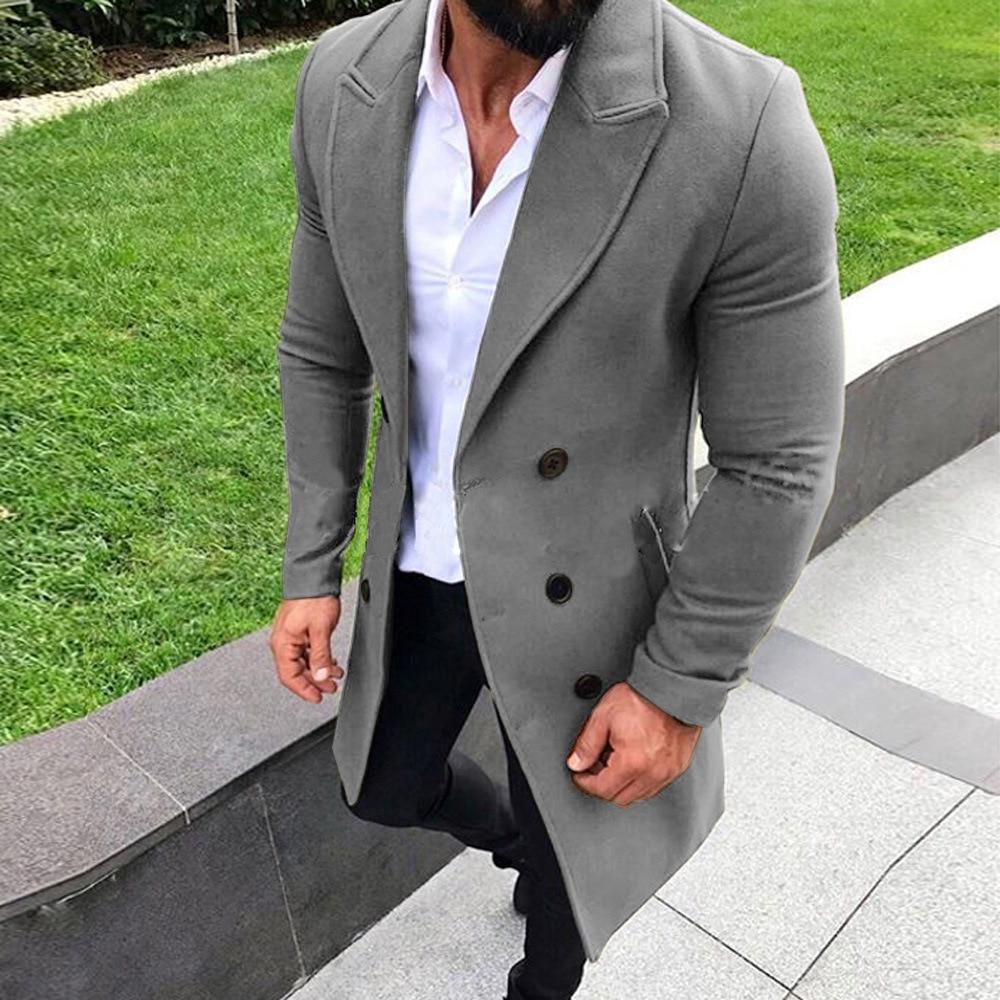 2019 Fashion Men Blazer Coats Autumn Winter Long Warm Blazers Casual Slim Fit Overcoats Stand Collar Blazers Men New Streetwears