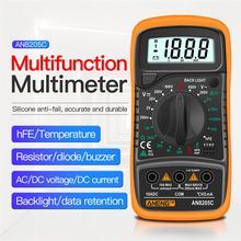 An8205c multímetro digital ac/dc amperímetro volt ohm medidor de teste profissão multimetro com display lcd backlight teste chumbo conjunto