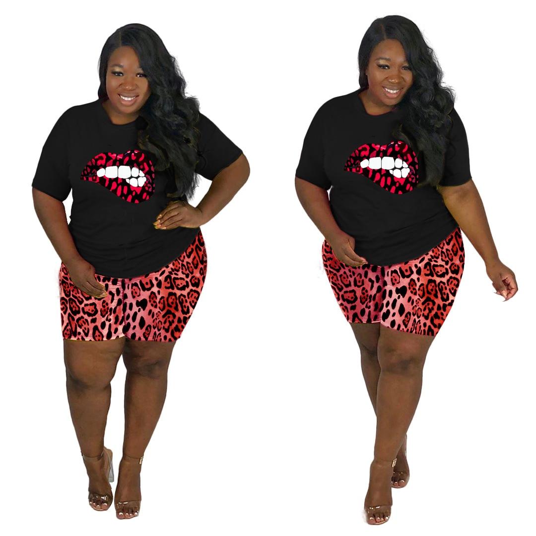 Plus Size Sets for Women 5xl 4XL 3XL Leopard Lips Print Casual Summer Sets Large Size Oversized Two Piece Set 2 Piece Shorts Set