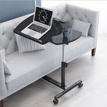 Free Lift Down Bed Side Sofa Table With Wheels Iron Kitchen Coffee Tables Lazy Wood Rotating Desktop Computer Desk Living Room(China)