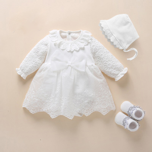 2020 Newborn White Baby Dress Baby Girls Infant Dresses & Clothes 1 Year Old Birthday Girl Dress Baby Baptism Dress Bow