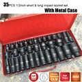 35PCS 1/2 Inch Drive Deep Impact Sockets 6 Point Air Pneumatic Socket Wrench Head CRV Short &Long Car Repair Tools with Case