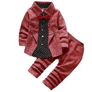 Дешевая распродажа, комплект одежды для маленьких мальчиков, детская блузка в горошек футболки и штаны хлопковые рождественские костюмы дл...