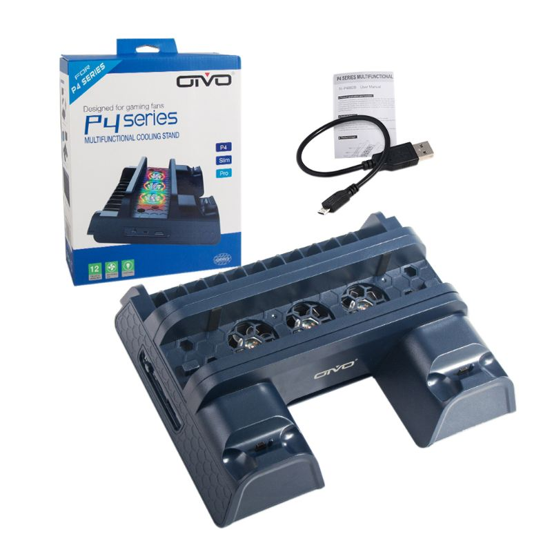 Multifunctional Vertical Cooling Stand Cooler PS4 Controller Charger Dock Station for PS4/PS4 Slim/PS4 Pro Game Console Accessor