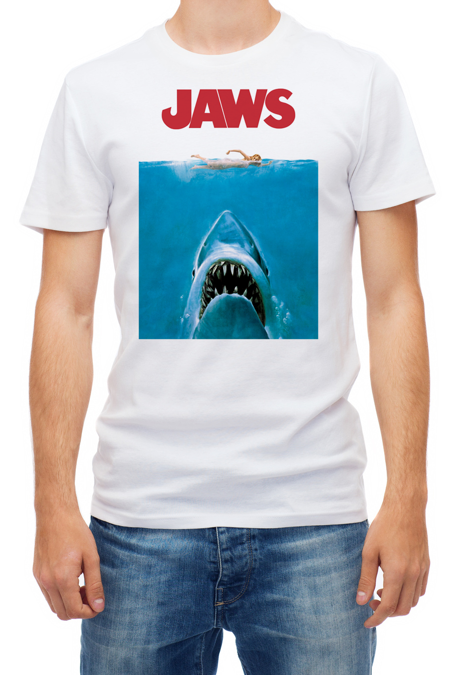 Jaws Distressed Shark Movie Men'S White Short Sleeve Cotton Tshirt image