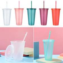 Bouteille d'eau à poudre Flash à paillettes 480/700ML, Portable, en plastique, personnalisable, réutilisable, verres à boire brillants, avec couvercle en paille