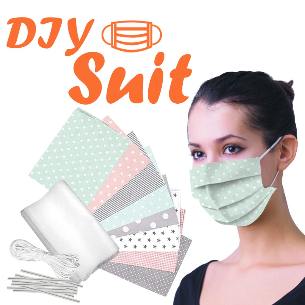 DIY Face Mask Material Kit Band Handmade Cloth Face Shield Cover Kit Free Elastic Band Sewing Crafts Tissu Pour Coudre Un Masque