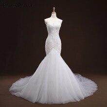 Русалка Кружева Аппликация Свадебное платье с длинным шлейфом бисером свадебное платье de Marie свадебное платье YY105