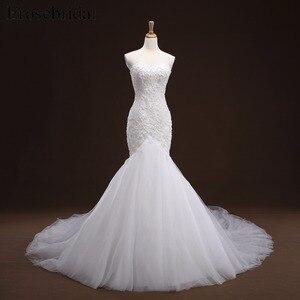 Image 1 - Mermaid Lace Appliques งานแต่งงานชุดยาวรถไฟ Beading เจ้าสาว Robe de mariee ชุดแต่งงาน vestido de noiva YY105