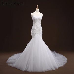 Image 1 - Mermaid Lace Appliques Wedding Dress Long Train Beading Bridal Gown robe de mariee Wedding Gown vestido de noiva YY105