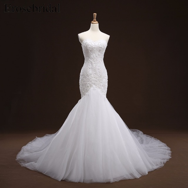 Mermaid Lace Appliques Wedding Dress Long Train Beading Bridal Gown robe de mariee Wedding Gown vestido de noiva YY105