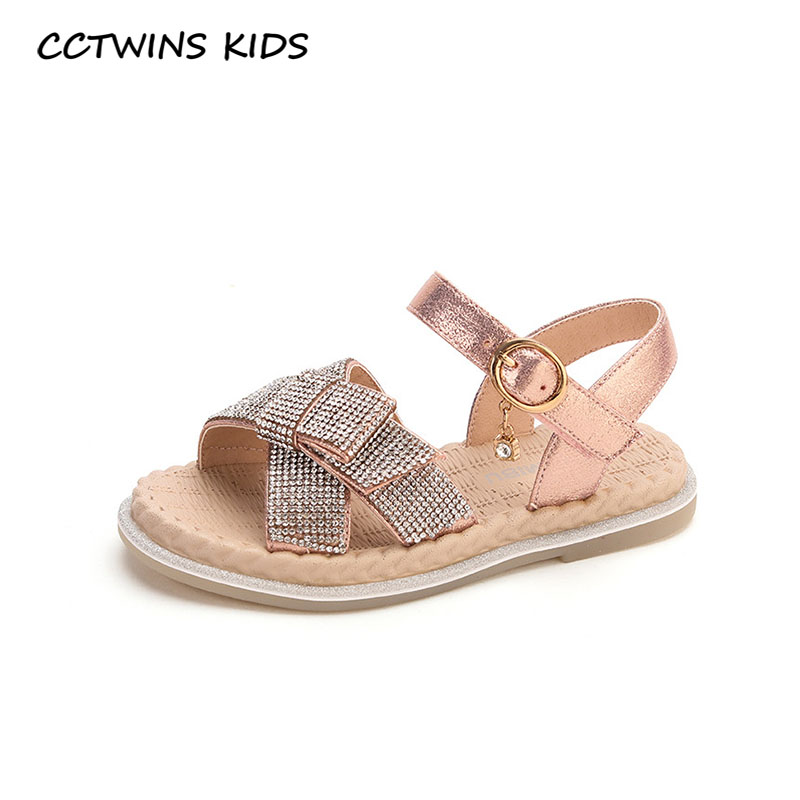 CCTWINS Kids Shoes 2020 Summer Children Pu Leather Flat Baby Brand Princess Sandals Girls Fashion Rhinestone Shoes PS805