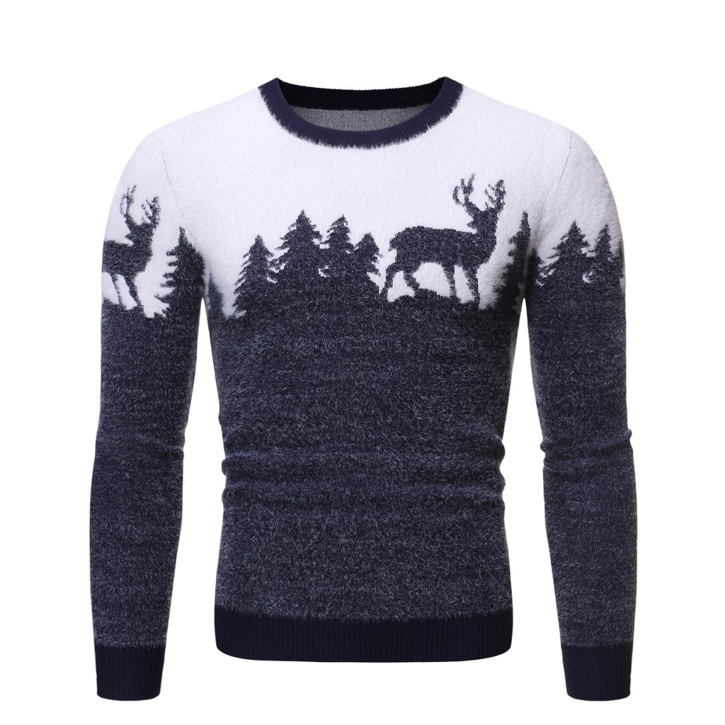 Men's Sweater Jacket Autumn And Winter Warm Men's Long Sleeve Christmas Stitching Sweater Knit Sweater Y11.21