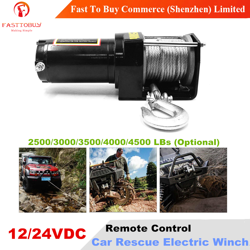 Remote Control 12/24VDC Car Electric Winch 2500-4500LBs For Rescue Or Self-help In Snow, Swamp, Desert, Beach, Harsh Environment