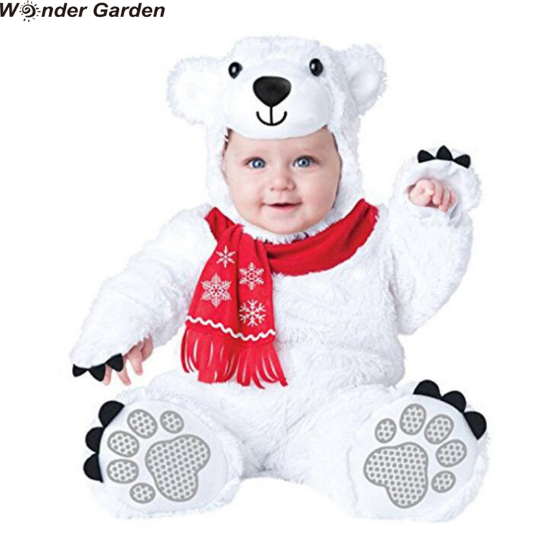 Wonder Garden Infant Toddlers Baby White Polar Bear Costume Halloween Party Animal Cosplay Christmas Purim Holiday Jumpsuit