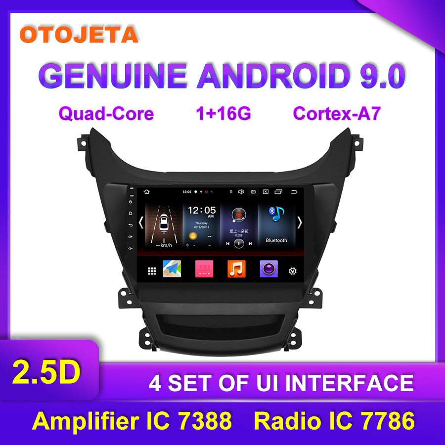 Factory direct sale OTOJETA Android 9.0 Car Multimedia Radio For 2016 <font><b>Hyundai</b></font> <font><b>Elantra</b></font> <font><b>GPS</b></font> AUX USB bluetooth Navigation Device image