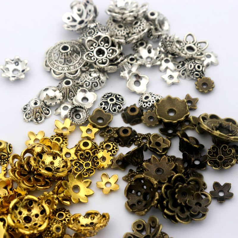 150pcs Mixed Tibetan Silver Gold Flower Metal Spacer Loose End Bead Caps For Jewelry Making Finding Wholesale
