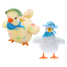 Cartoon Novelty 9inch Hen Laying Eggs Plush Stuffed Music Dancing with Sound Educational Interactive Toys