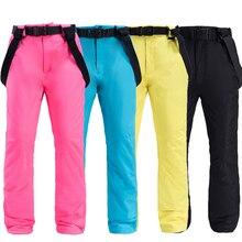 Мужские лыжные брюки, для спорта на открытом воздухе, высокое качество, подтяжки, женские, ветрозащитные, водонепроницаемые, теплые, зимние, для сноубординга