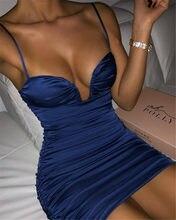 Kgfigu 2021 nova chegada profunda v-neck halter vestidos de alça de espaguete para as mulheres 2020 moda festa noite elegante senhoras