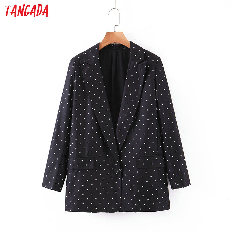 Tangada Women Vintage Dots Print  Black Blazer Female Long Sleeve Elegant Jacket Ladies Casual Blazer Suits SL80