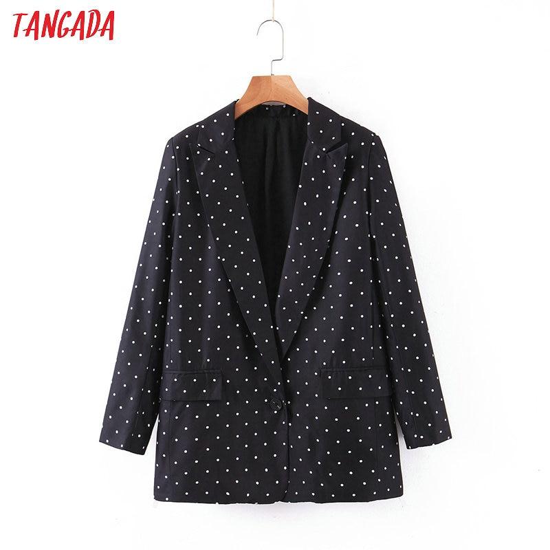 Tangada Women Vintage Dots Print  Black Blazer Female Long Sleeve Elegant Jacket Ladies Casual Blazer Suits SL80