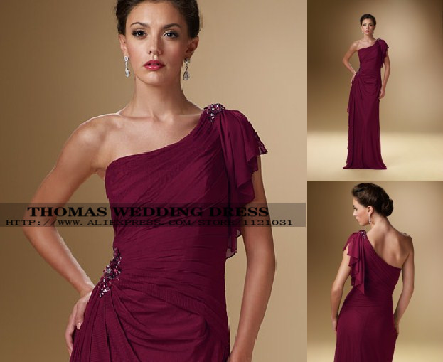 2019 New Elegant Purple Chiffon One Shoulder With Crystal Beading Formal Evening Mother Of The Bride Dresses WV-503