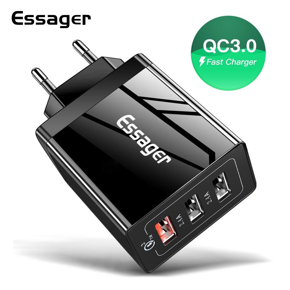 Essager 30W Quick Charge 3,0 USB Ladegerät QC 3,0 QC Schnelle Ladegerät Multi Stecker Wand Handy Ladegerät für iPhone Samsung Xiaomi Mi