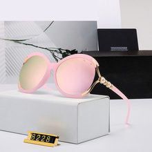 Europe and America Round Women Sunglasses Brand Designer Half-Frame Retro Oversi